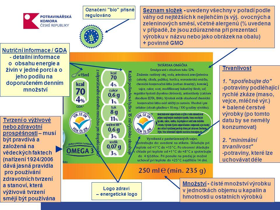 Nutriční informace / GDA - detailní informace o obsahu energie a živin v jedné porci a o jeho podílu na doporučeném denním množství Tvrzení o výživové nebo zdravotní prospěšnosti – musí být pravdivá a založená na vědeckých faktech (nařízení 1924/2006 dává jasná pravidla pro používání zdravotních tvrzení a stanoví, která výživová tvrzení smějí být používána Seznam složek - uvedeny všechny v pořadí podle váhy od nejtěžších k nejlehčím (s výj.