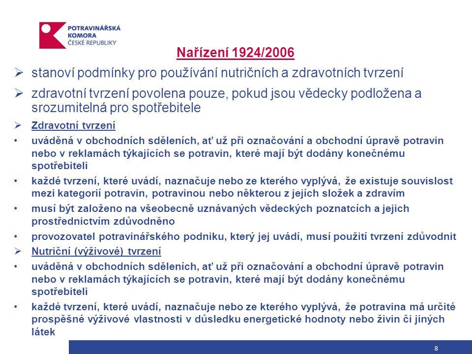 9 Princip nařízení 1924/2006 Výživová tvrzení Zdravotní tvrzení Nutriční profily (čl.