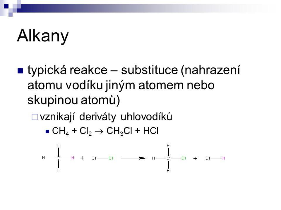 Alkany typická reakce – substituce (nahrazení atomu vodíku jiným atomem nebo skupinou atomů)  vznikají deriváty uhlovodíků CH 4 + Cl 2  CH 3 Cl + HCl