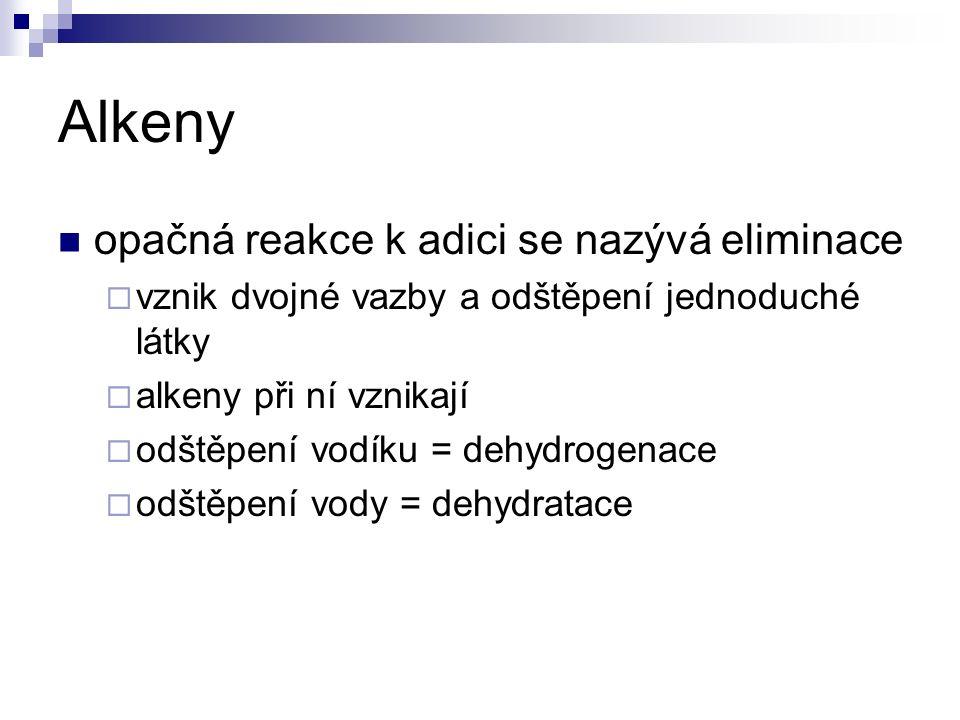 Alkeny opačná reakce k adici se nazývá eliminace  vznik dvojné vazby a odštěpení jednoduché látky  alkeny při ní vznikají  odštěpení vodíku = dehydrogenace  odštěpení vody = dehydratace