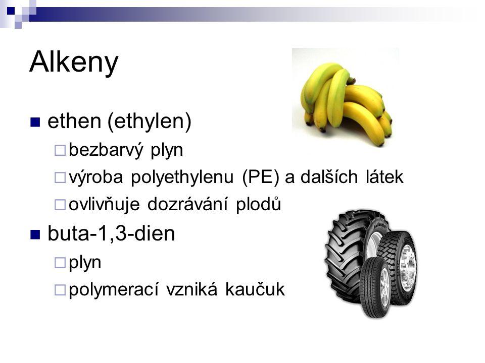 Alkeny ethen (ethylen)  bezbarvý plyn  výroba polyethylenu (PE) a dalších látek  ovlivňuje dozrávání plodů buta-1,3-dien  plyn  polymerací vzniká kaučuk