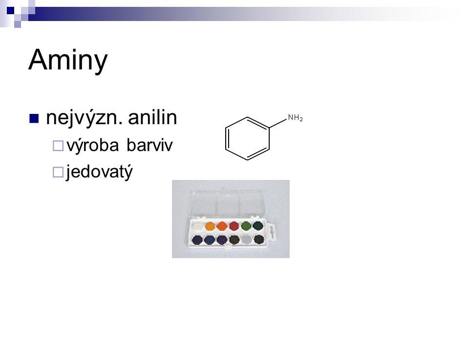 Aminy nejvýzn. anilin  výroba barviv  jedovatý