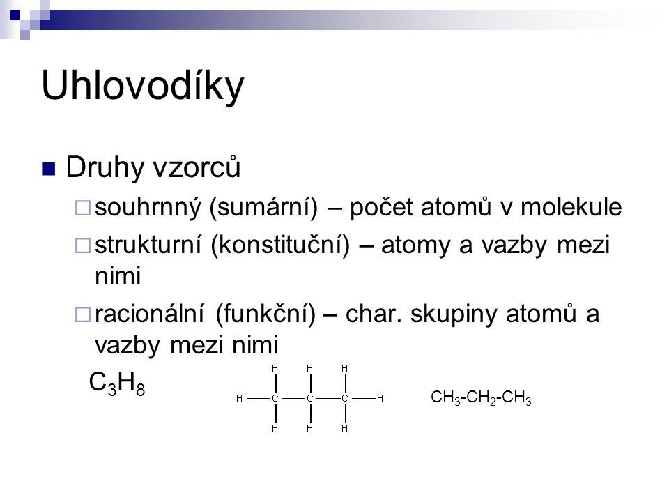 Uhlovodíky Druhy vzorců  souhrnný (sumární) – počet atomů v molekule  strukturní (konstituční) – atomy a vazby mezi nimi  racionální (funkční) – char.