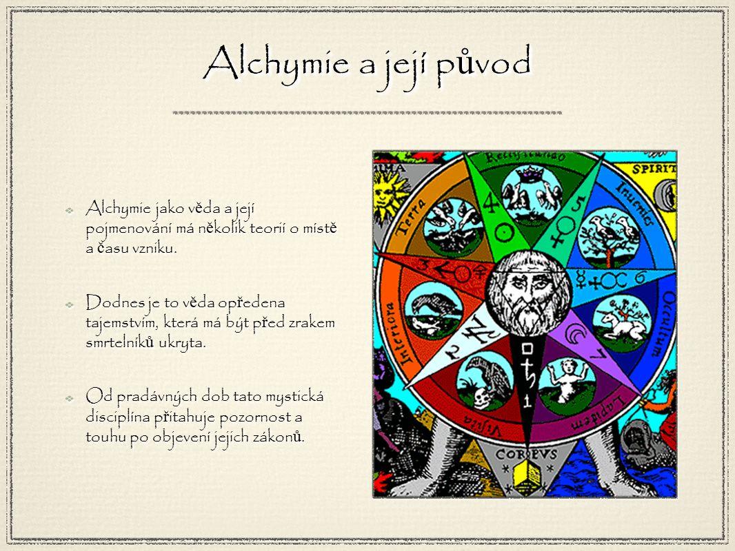 Alchymie a její p ů vod Alchymie jako v ě da a její pojmenování má n ě kolik teorií o míst ě a č asu vzniku.