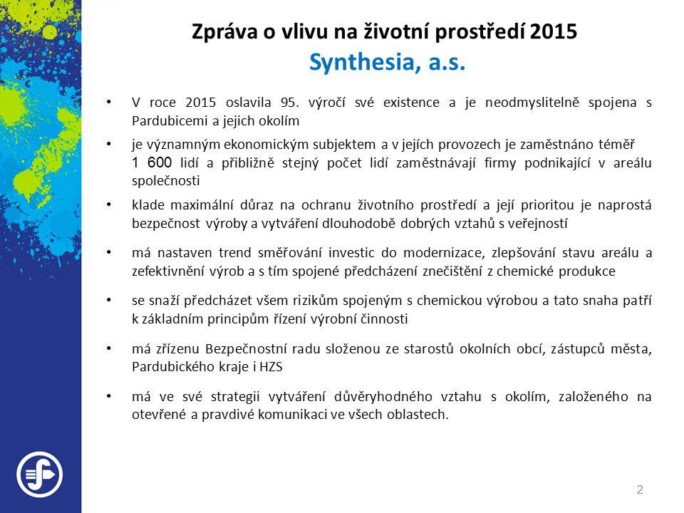 Zpráva o vlivu na životní prostředí 2015 Synthesia, a.s.