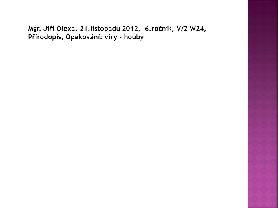 Mgr. Jiří Olexa, 21.listopadu 2012, 6.ročník, V/2 W24, Přírodopis, Opakování: viry - houby