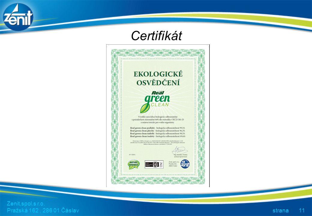 Certifikát Zenit,spol.s r.o. Pražská 162, 286 01 Čáslav strana11