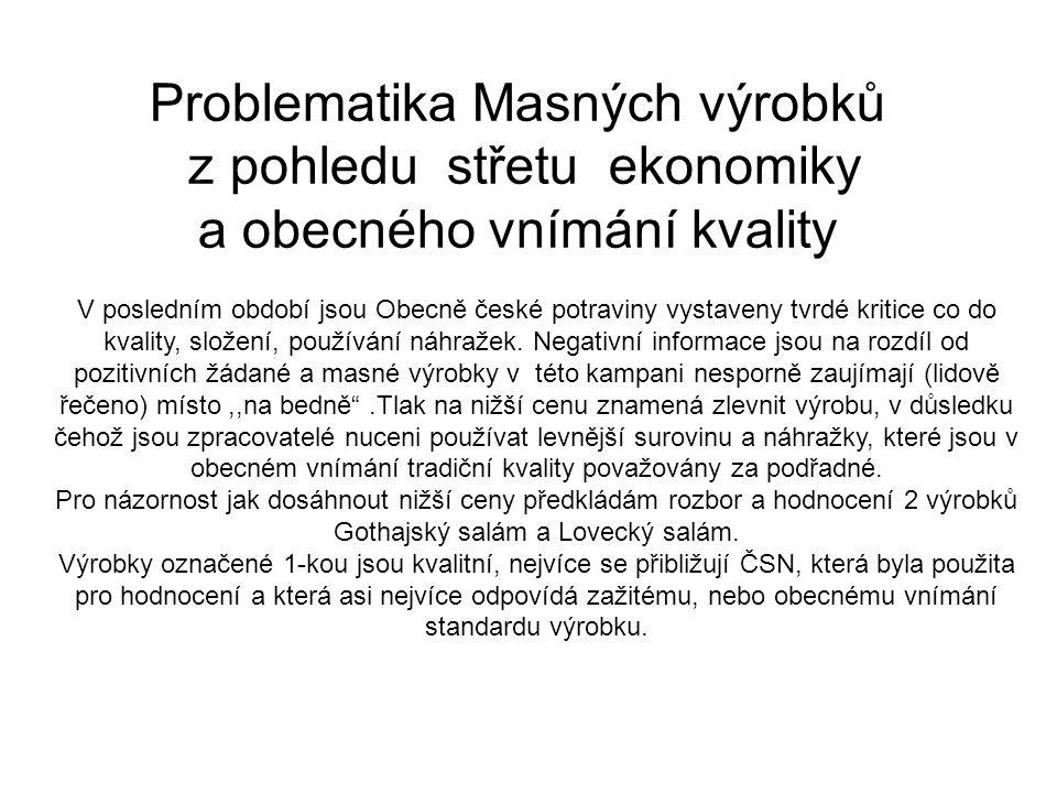 Problematika Masných výrobků z pohledu střetu ekonomiky a obecného vnímání kvality V posledním období jsou Obecně české potraviny vystaveny tvrdé kritice co do kvality, složení, používání náhražek.