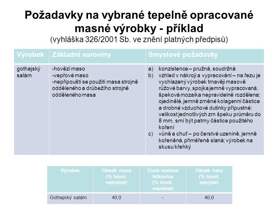 Požadavky na vybrané tepelně opracované masné výrobky - příklad (vyhláška 326/2001 Sb.