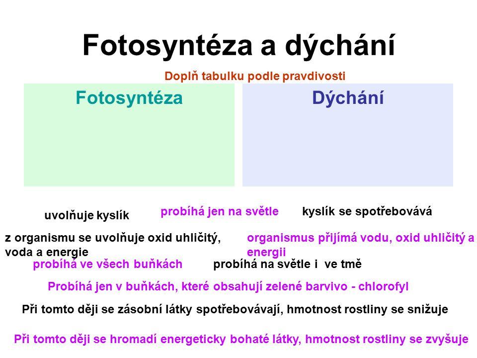 Fotosyntéza a dýchání FotosyntézaDýchání uvolňuje kyslík z organismu se uvolňuje oxid uhličitý, voda a energie Doplň tabulku podle pravdivosti probíhá