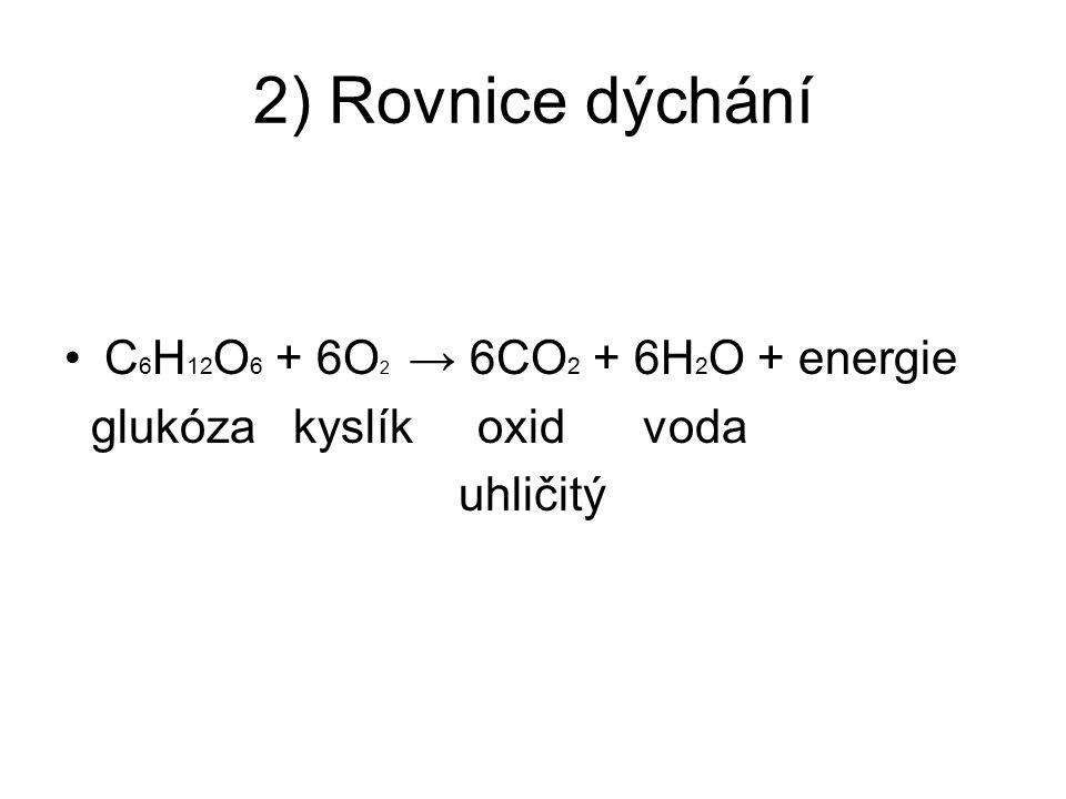 2) Rovnice dýchání C 6 H 12 O 6 + 6O 2 → 6CO 2 + 6H 2 O + energie glukóza kyslík oxid voda uhličitý