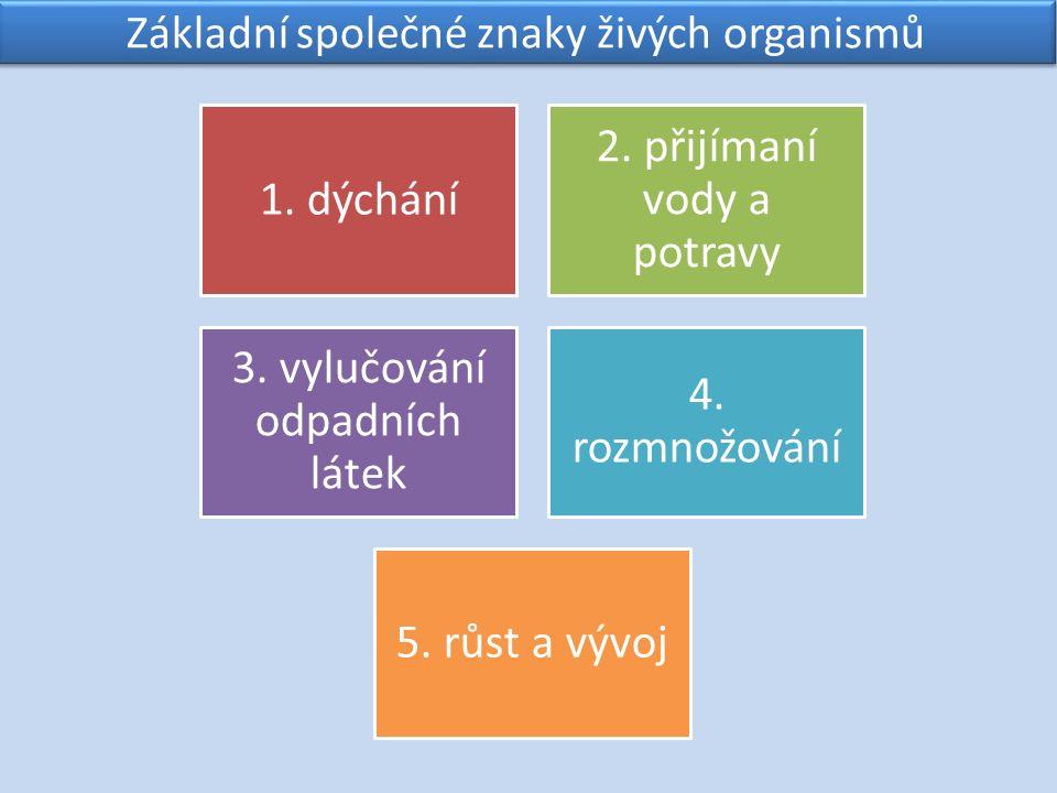 Základní společné znaky živých organismů 1. dýchání 2.