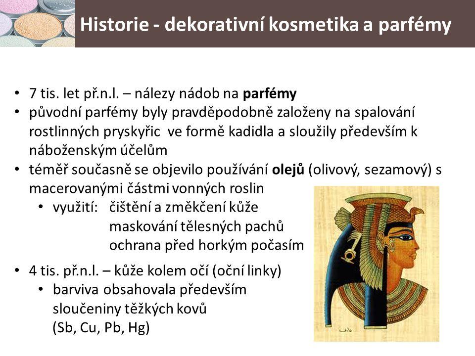 Historie - dekorativní kosmetika a parfémy egyptské parfémy a dekorativní kosmetika byly postupně využívány i v Řecku a Římě Řecko mělo i své původní receptury – med a olivový olej pro zesvětlení pleti a změkčení, oxidy železa ve směsi s olivovým a olejem a včelím voskem – rtěnky, lesky na rty (na rozdíl od Egypťanek, v Řecku důraz na přirozený vzhled) s rozvojem obchodu došlo k šíření kosmetických receptur, především se rozšiřoval sortiment vonných látek první parfémy – základem olivový olej první moderní parfém vyroben v Uhrách až v r.