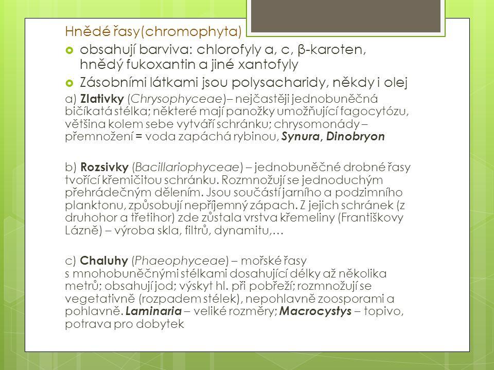 Hnědé řasy(chromophyta)  obsahují barviva: chlorofyly a, c, β-karoten, hnědý fukoxantin a jiné xantofyly  Zásobními látkami jsou polysacharidy, někd