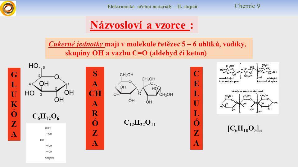 Elektronické učební materiály - II. stupeň Chemie 9 Názvosloví a vzorce : Cukerné jednotky mají v molekule řetězec 5 – 6 uhlíků, vodíky, skupiny OH a