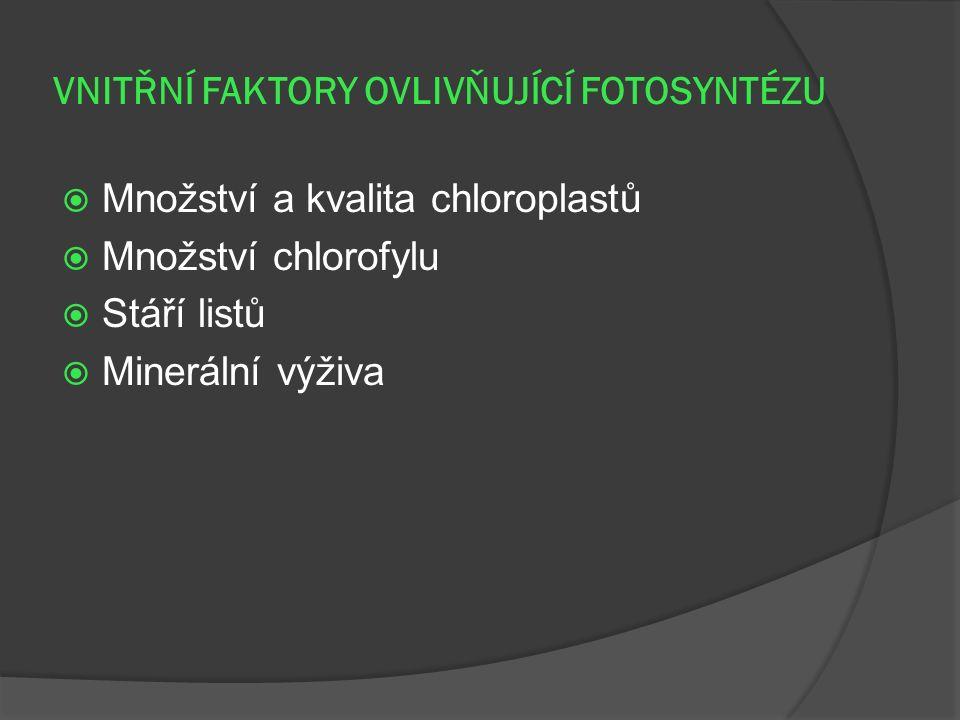 VNITŘNÍ FAKTORY OVLIVŇUJÍCÍ FOTOSYNTÉZU  Množství a kvalita chloroplastů  Množství chlorofylu  Stáří listů  Minerální výživa