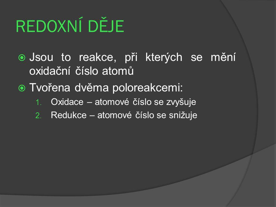 REDOXNÍ DĚJE  Jsou to reakce, při kterých se mění oxidační číslo atomů  Tvořena dvěma poloreakcemi: 1. Oxidace – atomové číslo se zvyšuje 2. Redukce