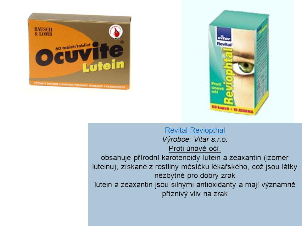 Revital Reviopthal Výrobce: Vitar s.r.o. Proti únavě očí.