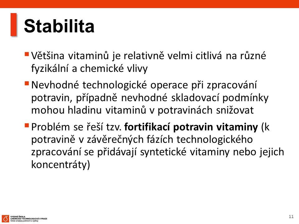 11 Stabilita  Většina vitaminů je relativně velmi citlivá na různé fyzikální a chemické vlivy  Nevhodné technologické operace při zpracování potravin, případně nevhodné skladovací podmínky mohou hladinu vitaminů v potravinách snižovat  Problém se řeší tzv.