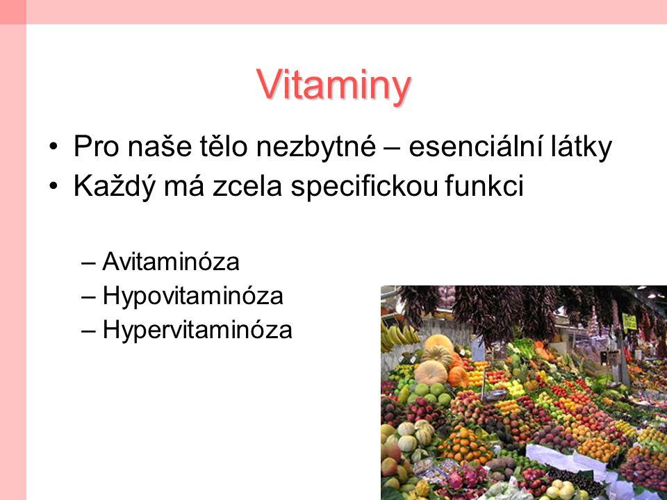3 Definice vitaminů  Exogenní esenciální biokatalyzátory heterotrofních organismů, látky nezbytné v malých množstvích, které si organismus není schopen sám syntetizovat a musí je přijímat s potravou  Struktura jednotlivých vitaminů různorodá - různé funkce v organismu  Nejdůležitější funkcí katalytický účinek při řadě reakcí látkové přeměny; některé vitaminy působí přímo jako koenzymy.