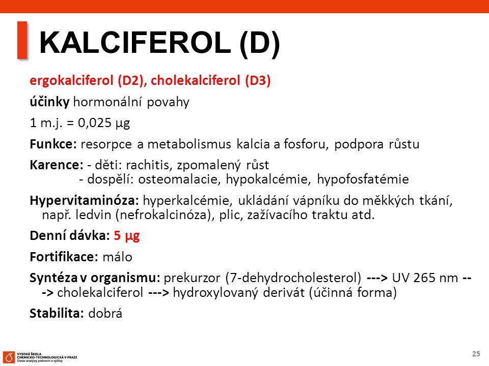 25 KALCIFEROL (D) ergokalciferol (D2), cholekalciferol (D3) účinky hormonální povahy 1 m.j.