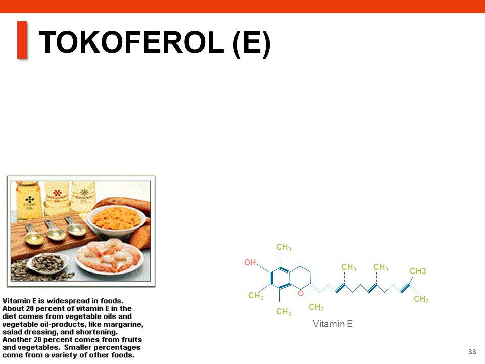 33 TOKOFEROL (E) O CH 3 OH Vitamin E