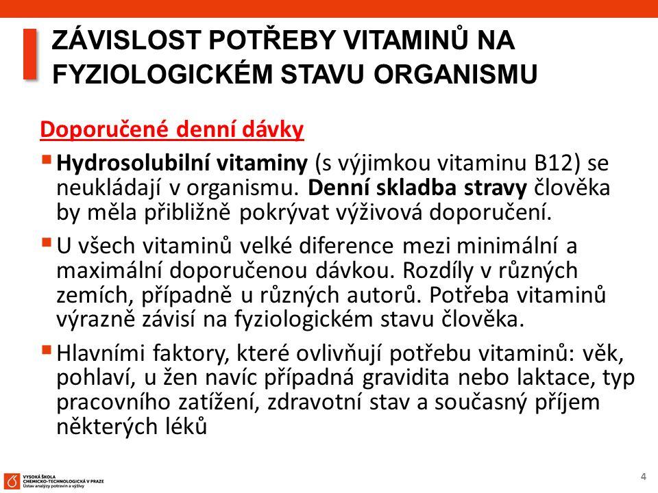4 ZÁVISLOST POTŘEBY VITAMINŮ NA FYZIOLOGICKÉM STAVU ORGANISMU Doporučené denní dávky  Hydrosolubilní vitaminy (s výjimkou vitaminu B12) se neukládají v organismu.