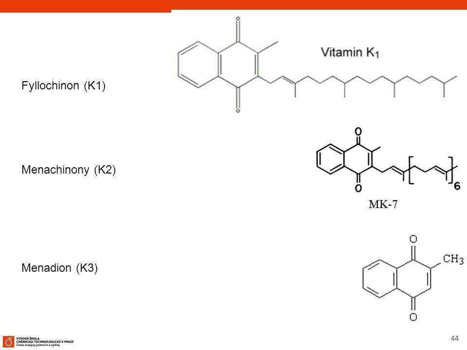 44 Fyllochinon (K1) Menachinony (K2) Menadion (K3)