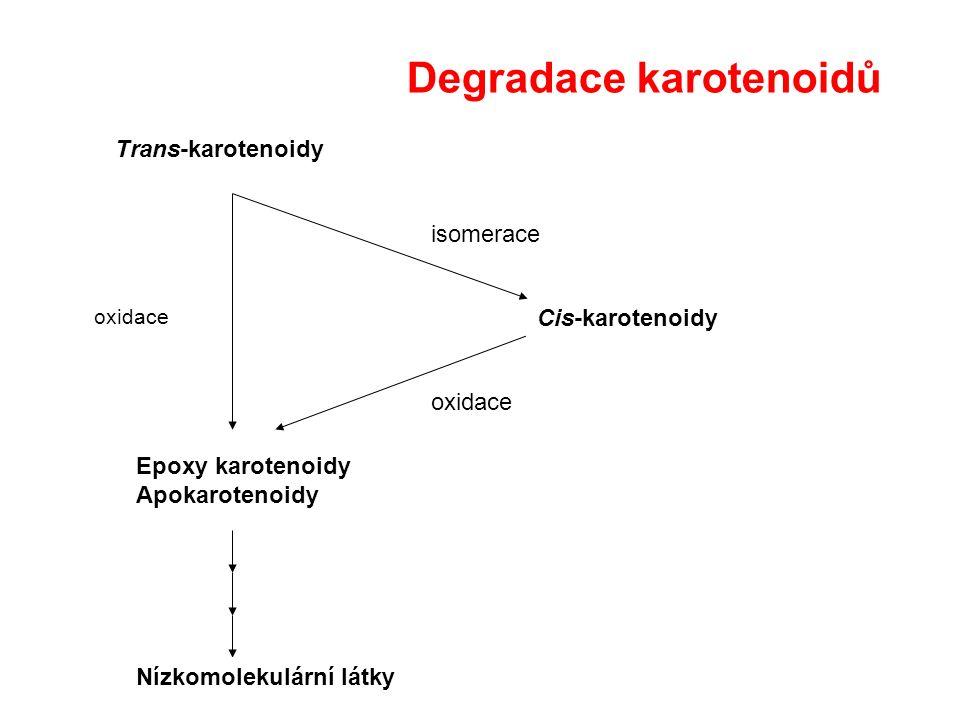 Trans-karotenoidy Cis-karotenoidy Epoxy karotenoidy Apokarotenoidy isomerace oxidace Nízkomolekulární látky Degradace karotenoidů