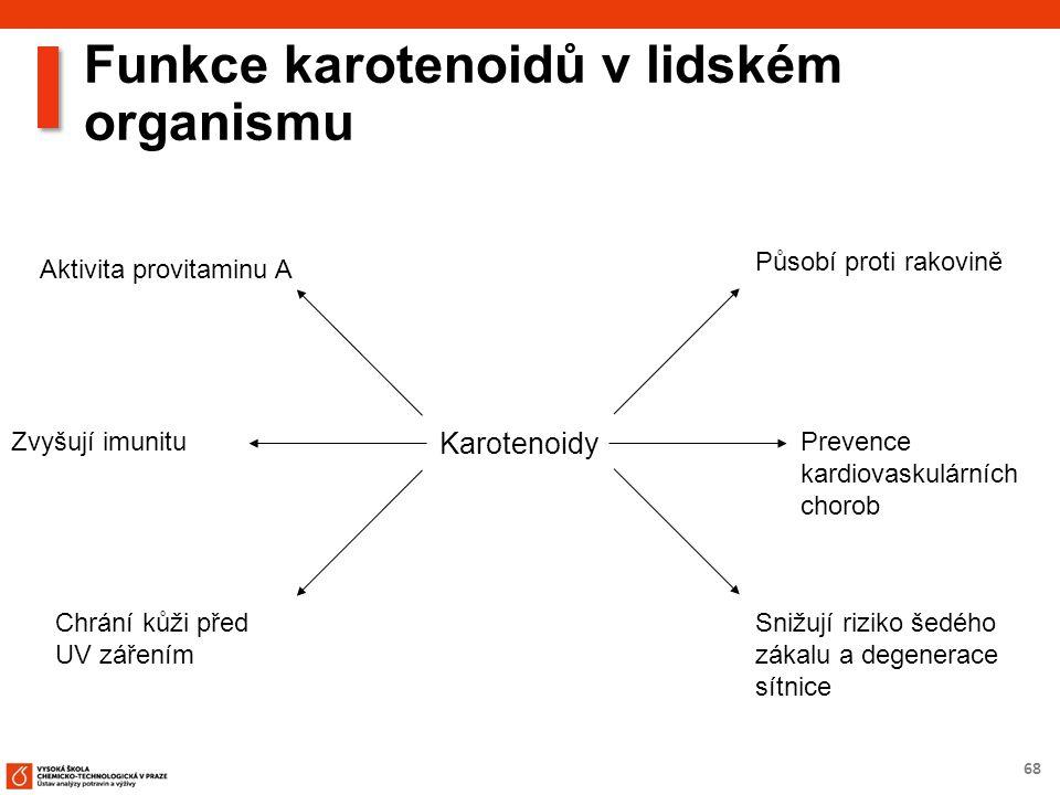 68 Funkce karotenoidů v lidském organismu Karotenoidy Působí proti rakovině Prevence kardiovaskulárních chorob Snižují riziko šedého zákalu a degenerace sítnice Zvyšují imunitu Chrání kůži před UV zářením Aktivita provitaminu A