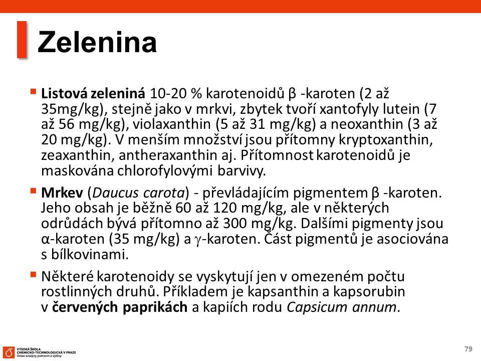 79 Zelenina  Listová zeleniná 10-20 % karotenoidů β -karoten (2 až 35mg/kg), stejně jako v mrkvi, zbytek tvoří xantofyly lutein (7 až 56 mg/kg), violaxanthin (5 až 31 mg/kg) a neoxanthin (3 až 20 mg/kg).