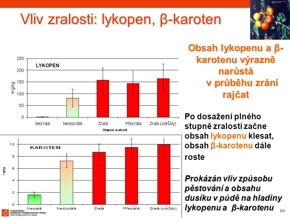 84 Vliv zralosti: lykopen, β-karoten Obsah lykopenu a β- karotenu výrazně narůstá v průběhu zrání rajčat v průběhu zrání rajčat Po dosažení plného stupně zralosti začne obsah lykopenu klesat, obsah β-karotenu dále roste Prokázán vliv způsobu pěstování a obsahu dusíku v půdě na hladiny lykopenu a β-karotenu LYKOPEN