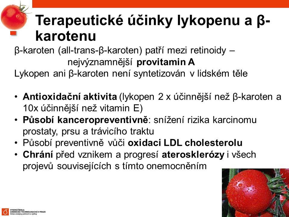 85 β-karoten (all-trans-β-karoten) patří mezi retinoidy – nejvýznamnější provitamin A Lykopen ani β-karoten není syntetizován v lidském těle Antioxidační aktivita (lykopen 2 x účinnější než β-karoten a 10x účinnější než vitamin E) Působí kanceropreventivně: snížení rizika karcinomu prostaty, prsu a trávicího traktu Působí preventivně vůči oxidaci LDL cholesterolu Chrání před vznikem a progresí aterosklerózy i všech projevů souvisejících s tímto onemocněním Terapeutické účinky lykopenu a β- karotenu