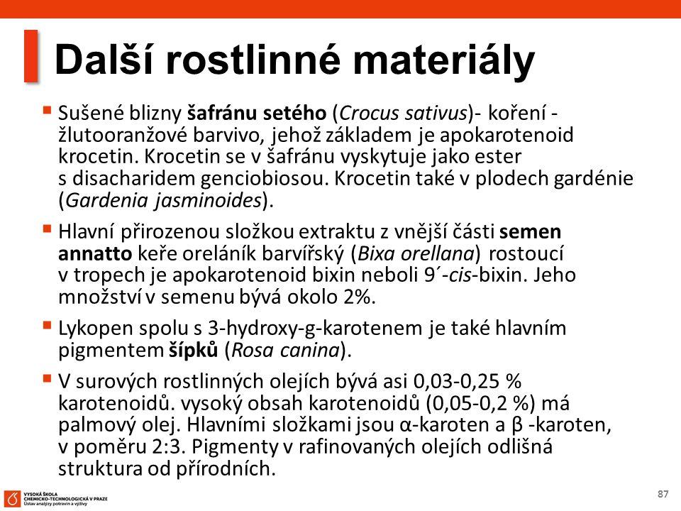 87 Další rostlinné materiály  Sušené blizny šafránu setého (Crocus sativus)- koření - žlutooranžové barvivo, jehož základem je apokarotenoid krocetin.