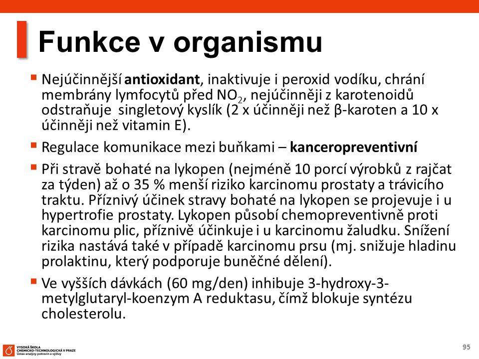 95 Funkce v organismu  Nejúčinnější antioxidant, inaktivuje i peroxid vodíku, chrání membrány lymfocytů před NO 2, nejúčinněji z karotenoidů odstraňuje singletový kyslík (2 x účinněji než β-karoten a 10 x účinněji než vitamin E).
