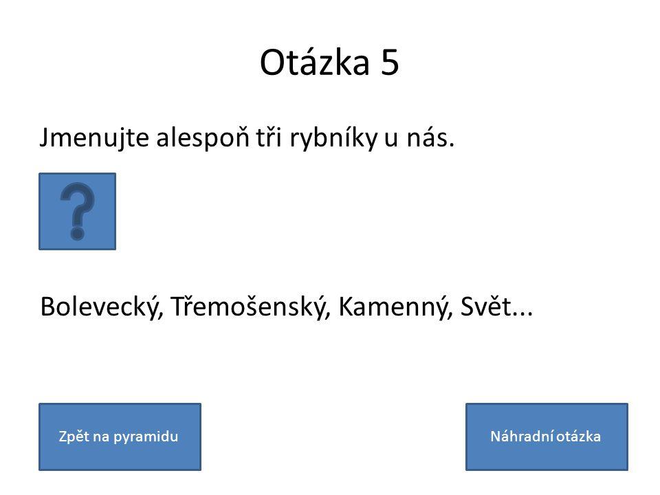 Otázka 5 Jmenujte alespoň tři rybníky u nás. Bolevecký, Třemošenský, Kamenný, Svět...