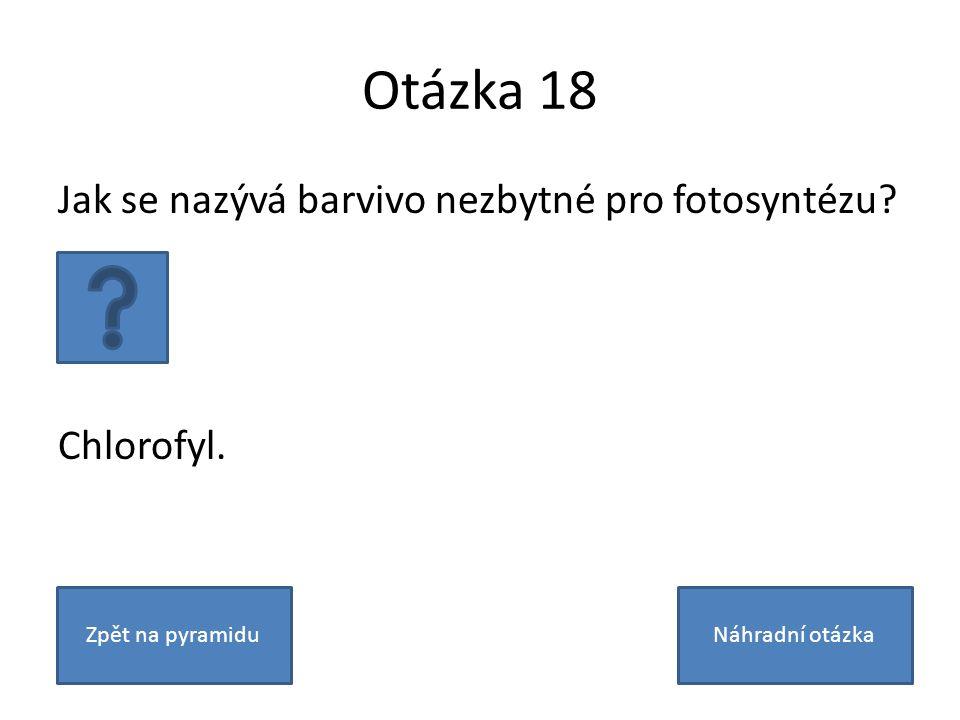 Otázka 18 Jak se nazývá barvivo nezbytné pro fotosyntézu.