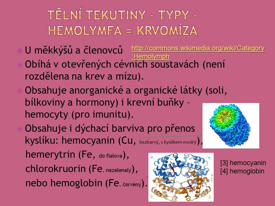  tkáňový mok – tekutina bez buněk (výjimečně jsou zde bílé krvinky)  lymfa (míza) – ve speciálních cévních útvarech, vzniká z tkáňového moku, obsahuje větší množství lymfocytů, mízní ústrojí se poprvé vyskytuje u paryb, je to otevřený systém ústící do cévní soustavy, důležitá role v obraně organismu.