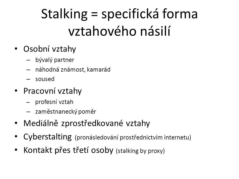 Stalking = specifická forma vztahového násilí Osobní vztahy – bývalý partner – náhodná známost, kamarád – soused Pracovní vztahy – profesní vztah – zaměstnanecký poměr Mediálně zprostředkované vztahy Cyberstalting (pronásledování prostřednictvím internetu) Kontakt přes třetí osoby (stalking by proxy)