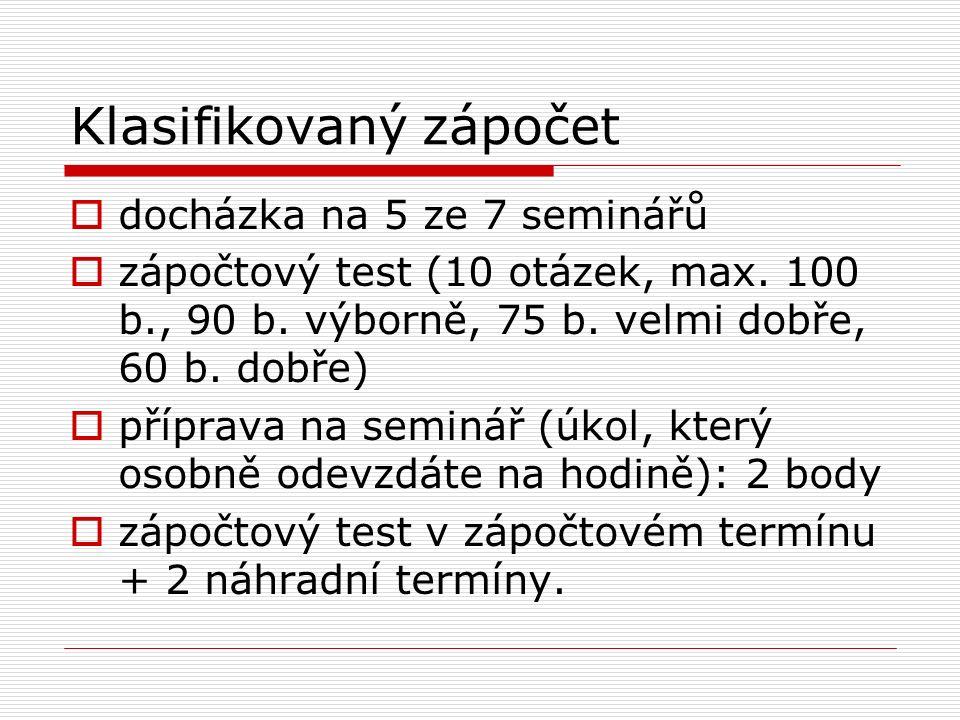 Klasifikovaný zápočet  docházka na 5 ze 7 seminářů  zápočtový test (10 otázek, max.