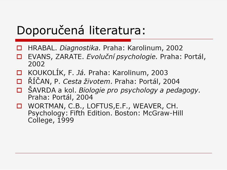 Doporučená literatura:  HRABAL. Diagnostika. Praha: Karolinum, 2002  EVANS, ZARATE.