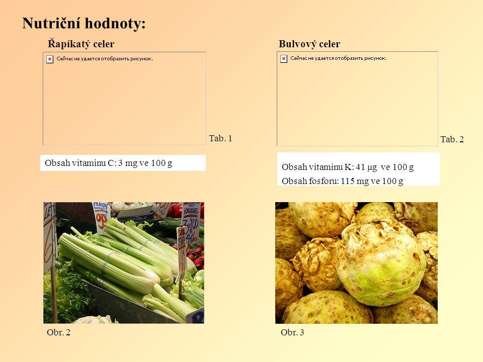 Nutriční hodnoty: Tab. 5