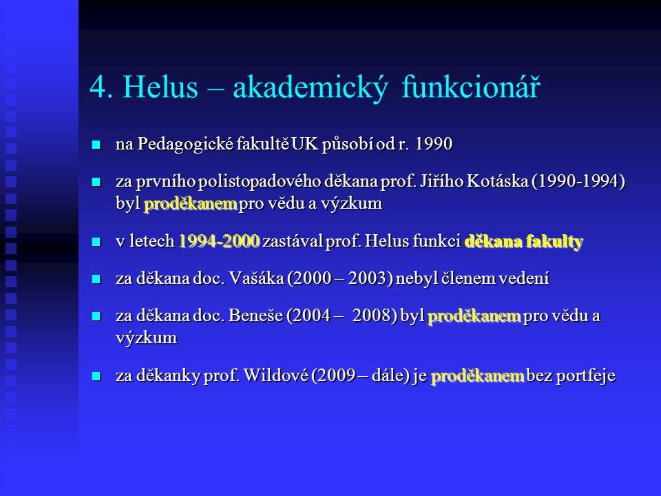 4. Helus – akademický funkcionář na Pedagogické fakultě UK působí od r.