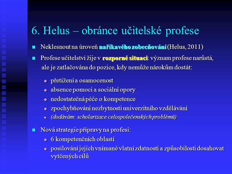 6. Helus – obránce učitelské profese Neklesnout na úroveň naříkavého zobecňování (Helus, 2011) Neklesnout na úroveň naříkavého zobecňování (Helus, 201