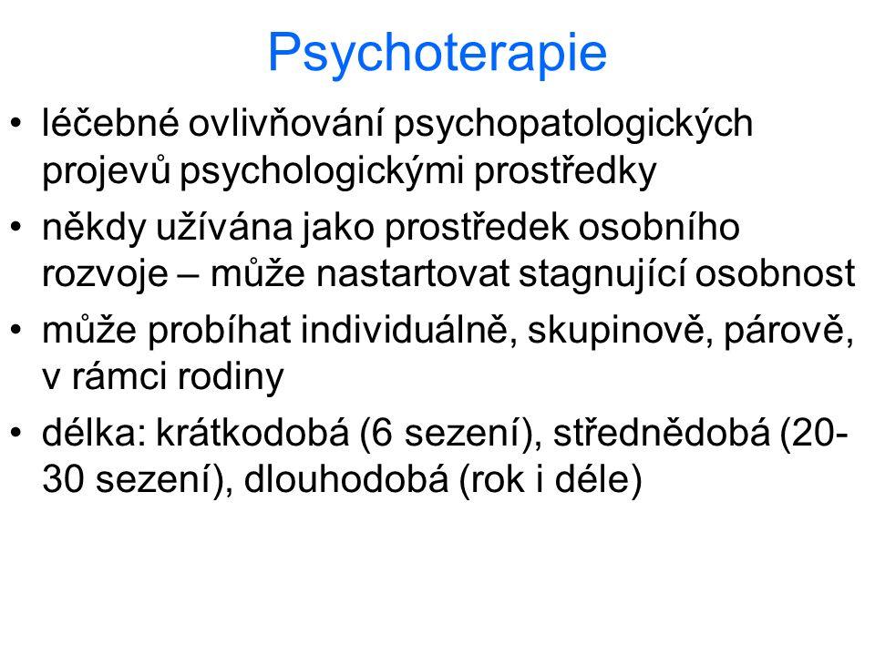 Psychoterapie léčebné ovlivňování psychopatologických projevů psychologickými prostředky někdy užívána jako prostředek osobního rozvoje – může nastart