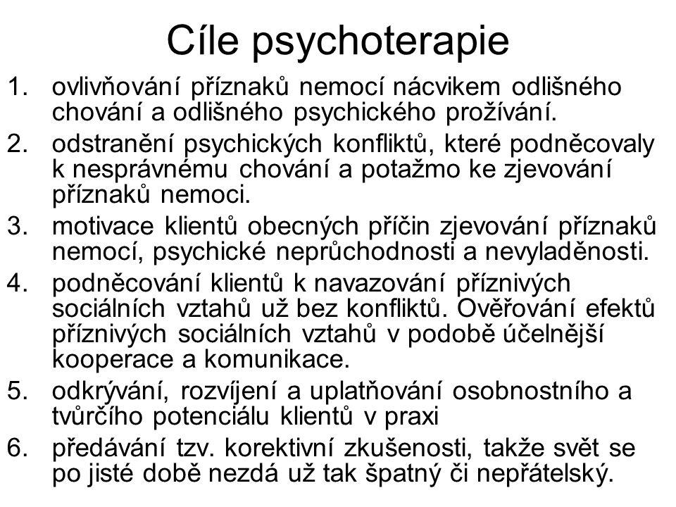 Cíle psychoterapie 1.ovlivňování příznaků nemocí nácvikem odlišného chování a odlišného psychického prožívání. 2.odstranění psychických konfliktů, kte