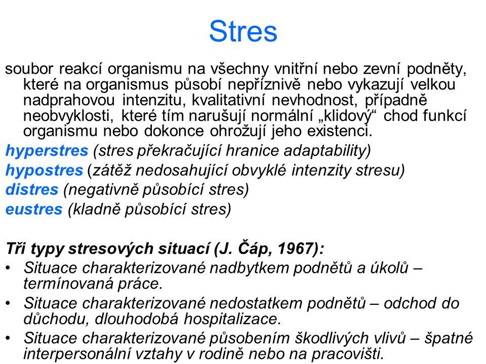 Stres soubor reakcí organismu na všechny vnitřní nebo zevní podněty, které na organismus působí nepříznivě nebo vykazují velkou nadprahovou intenzitu,
