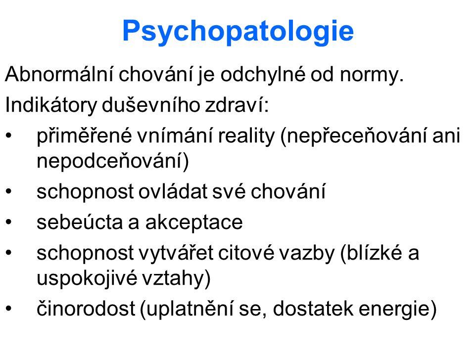 Psychopatologie Abnormální chování je odchylné od normy. Indikátory duševního zdraví: přiměřené vnímání reality (nepřeceňování ani nepodceňování) scho