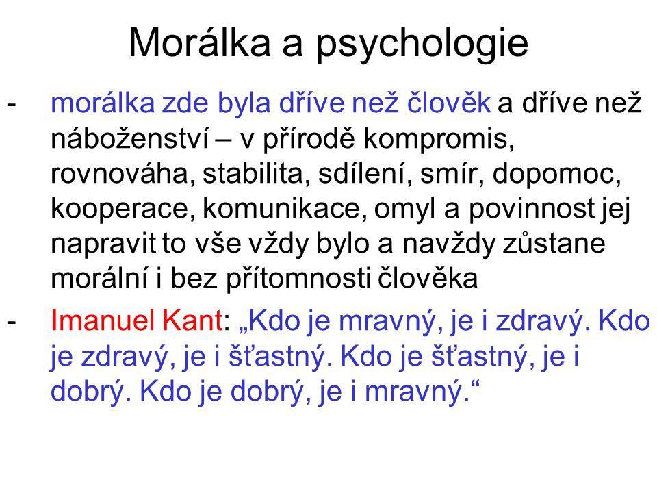 Morálka a psychologie -morálka zde byla dříve než člověk a dříve než náboženství – v přírodě kompromis, rovnováha, stabilita, sdílení, smír, dopomoc,