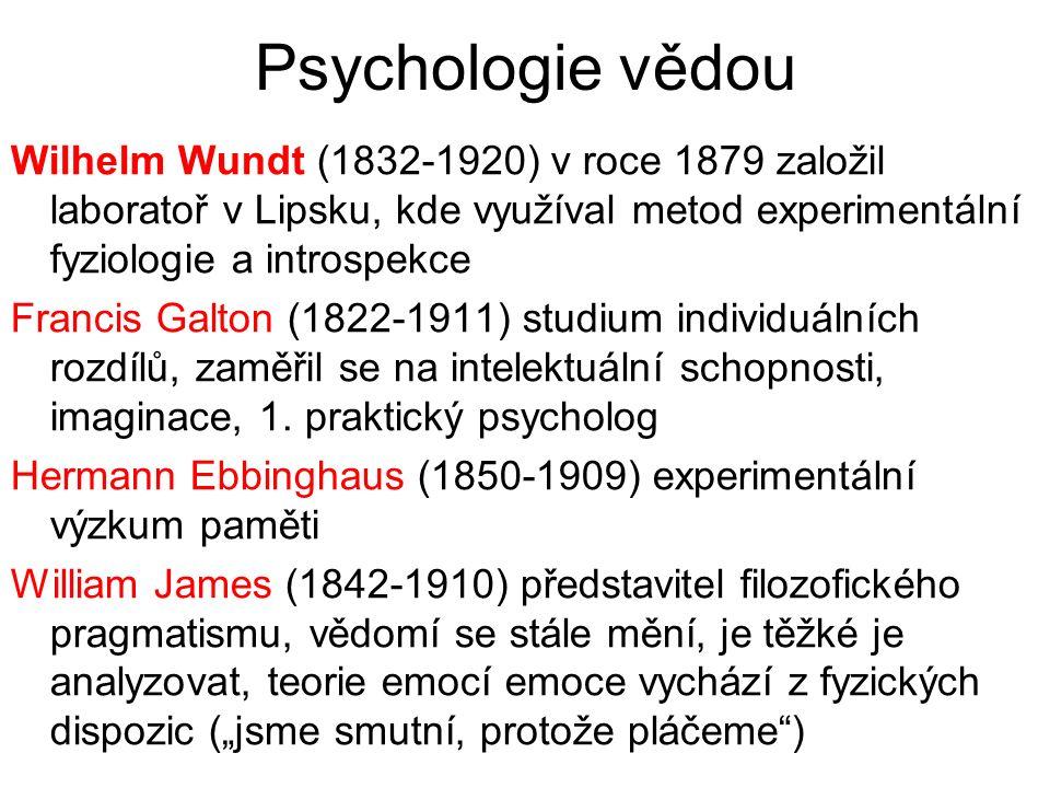 Psychologie vědou Wilhelm Wundt (1832-1920) v roce 1879 založil laboratoř v Lipsku, kde využíval metod experimentální fyziologie a introspekce Francis